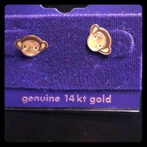 14kt gold monkey earrings